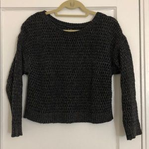 Theory Charcoal Gray Wool Open Knit Crop Sweater